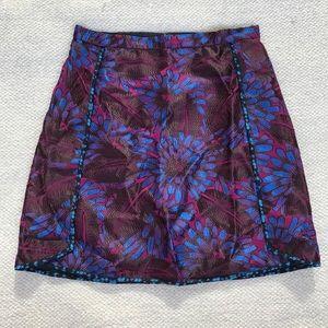 J. Crew Purple Midnight Floral Skirt